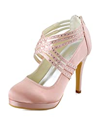 ElegantPark EP11085-PF Women Platform High Heel Closed Toe Cross Strap Rhinestones Satin Evening Party Shoes