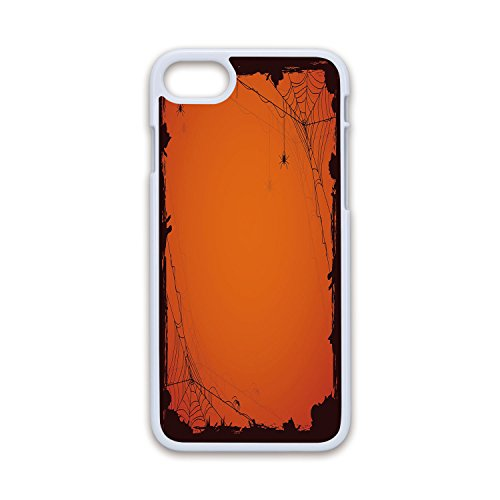 Phone Case Compatible with iPhone7 iPhone8 White Soft Edges 2D Print,Spider Web,Grunge Halloween Composition Scary Framework with Insects Abstract Cobweb,Orange Brown,Hard Plastic Phone Case ()