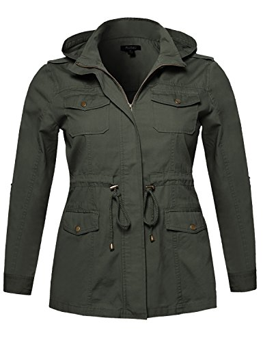 Plus4u Casual Adjustable Sleeve Anorak Jacket With Detachable Hood Olive Size (Sleeve Anorak)