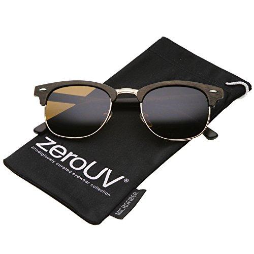zeroUV - Modern Wood Textured Horn Rimmed Square Lens Half Frame Sunglasses 50mm