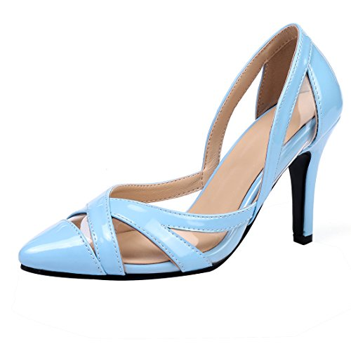 Talons UH Elegantes Creux Femmes et avec Nubuck Vernis à Pointu Confortables Bout Moyen Bleu Sandales Stiletto et ggTrw