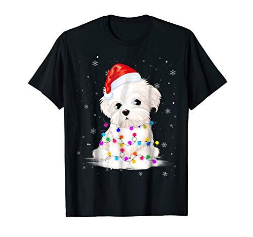 Maltese With Christmas Lights Shirt Santa Hat - Womens Maltese
