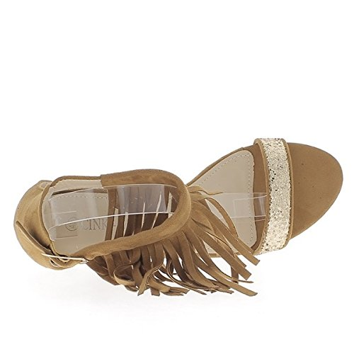 Sandali taglia strisce di cammello a tacco 9cm