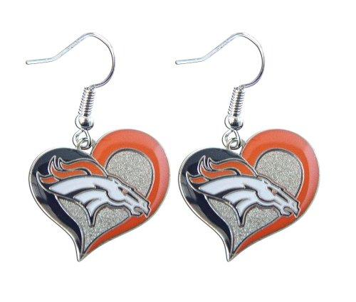 NFL Denver Broncos Swirl Heart Earrings