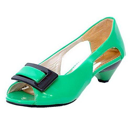 AalarDom Mujer Sin cordones Peep Mini Tacón Charol Sólido Sandalias de vestir Verde