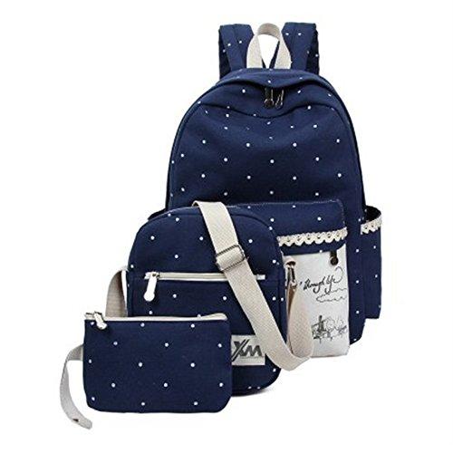 Minetom Backpack Mochilas Escolares Mochila Escolar Casual Bolsa Viaje 3 Piezas Embrague Bolsa De Mensajero Lona Azul