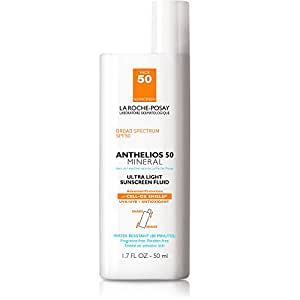 La Roche-Posay Anthelios 50 Mineral Sunscreen Ultra-Light Fluid for Face, SPF 50 with Zinc Oxide and Antioxidants, 1.7 Fl. Oz.