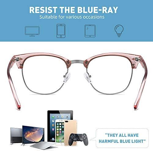 AIMISUV BLUE LIGHT BLOCKING GLASSES WOMEN/MEN,RETRO HALF FRAME ANTI EYESTRAIN COMPUTER GAMING GLASSES(2PACK)(CRYSTAL+PINK)
