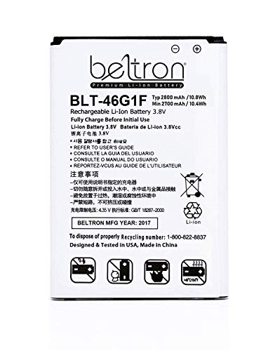 New 2800mAh BELTRON Replacement Battery for LG LV5/K20 Plus (Compatible with: MetroPCS MP260, T-Mobile TP260, Verizon Wireless VS501) BL-46G1F