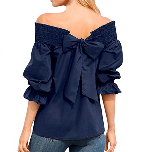 vermers Clearance Sale Women Off Shoulder Blouse 2018 New Puff Long Sleeve Bow Bandage T Shirts Tops(M, ()