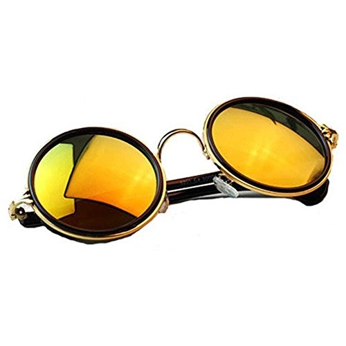 NYKKOLA Unisex's Round Mirror Reflective Polycarbonate Sunglasses ()
