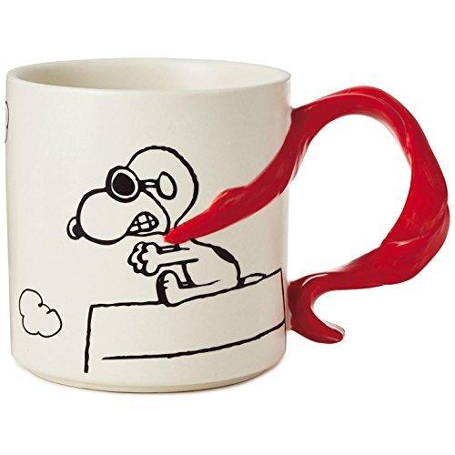 Hallmark Peanuts Snoopy Flying Ace With Scarf Handle Mug, 12 oz.