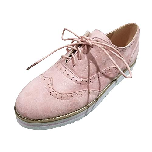 Hurrybuy Womens Suede Lace-up Casual Shoes Walking Running Sport Sneakers Pink