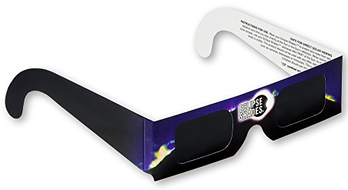 Eclipse Glasses CE & ISO Certified Safe Solar Shades with Black Frame - Pack of 5 Made in USA
