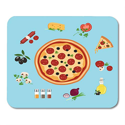 Nakamela Mouse Pads Red Meal Black Slice Pizza Flat Style Green Food Onion Mouse mats 9.5