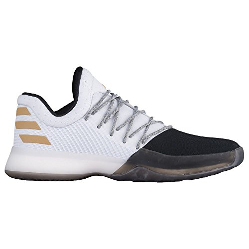 adidas Harden Vol.1 Shoe Men's Basketball 10 Running White-Black-Gold Metallic (James Harden Shoes)