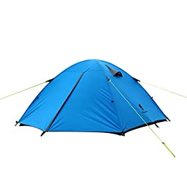 GEERTOP Portable Lightweight Backpacking Tent 3 Person 3-4 Season Waterproof Double Layer Large Space Aluminum Rod Freestanding Tent for Outdoor Family Camping Hunting Hiking Travel - Easy to Set Up 89 【Large Space】Tent size is 83(L) x 71(W) x 47.2(H), with extral vestibule to put the camping gears, luggage; it is a roomy camping travel dome tent with plenty of space for you and a family member or friends; Providing a comfortable and spacious outdoor shelter that comfortably fits 2 man or 3 person 【Waterproof Tent】Geertop 3 season tent - 210D PU5000 mm waterproof Oxford cloth ripstop floor + 210T PU3000 mm anti-tear plaid polyester tent fly while double-sided adhesive waterproof strip seam, ensure water does not make its way into the inside of tent , offer a comfortable camping experience 【Excellent Ventilation 】The camping inner tent made of 210T breathable polyester + high density fine nylon mesh with 2 doors + 2 ventilation windows + 2 vestibule, allowing for greater airflow throughout the tent, avoiding bothered by stuffiness