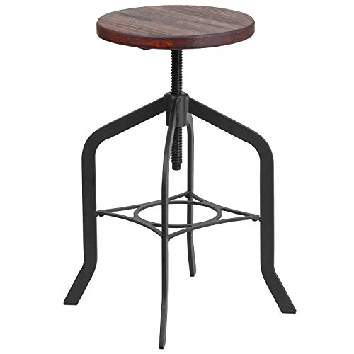 Flash Furniture 24 Counter Height Stool with Swivel Lift Wood Seat