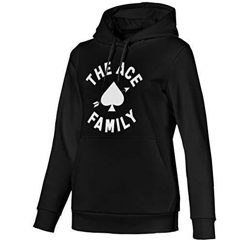 ACE FAMILY Womens Pullover Hooded Sweatshirt Black L