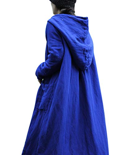 Frog Quilted (YESNO T303 Women Long Thicken Quilted Hooded Jacket Chinese Traditional Frogs High Waist Big Gather on Back Loose Swing Skirt/Big Pockets)