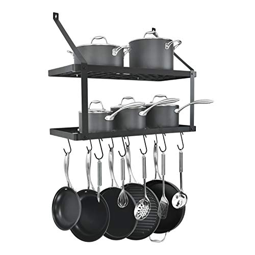 HomeLifairy Wall Mounted Double Pot Shelf Rack Pan With 10 Pot And Pan Hanging Hooks For Home Kitchen,Restaurant Double Pot Rack Hook