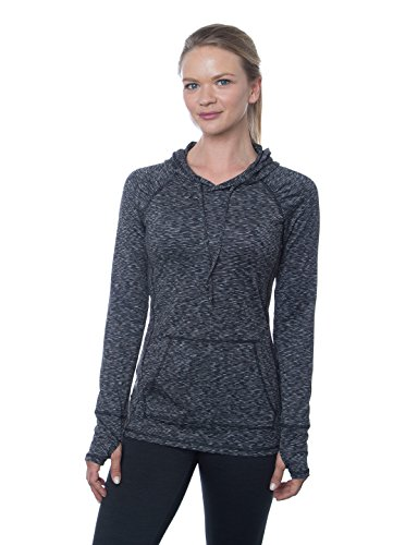 RBX Active Women's Long-Sleeve Space Dye Peached Jersey Hoodie, Small, Black