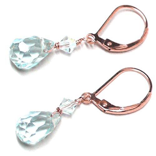 Lab Grown Aqua Quartz 10x6 Briolette Lever Back Earrings Swarovski Crystal Rose - Quartz Lab