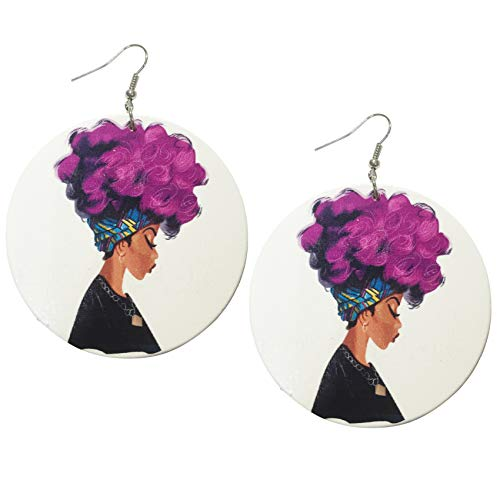 Ethnic Style Large Round Wood Eardrop African Wooden Dangler Earrings (Color A)