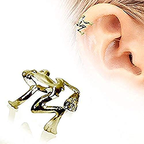 Covet Jewelry Antique Gold Plated Tree Frog Fake Cartilage Ear Cuff