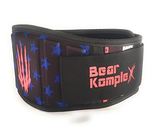 Bear KompleX Weighlifting belt for Powerlifting, Crossfit, Squats, Weight Training and more. Low profile velcro with super firm back for maximum stability and exceptional comfort. STARS SMALL belt