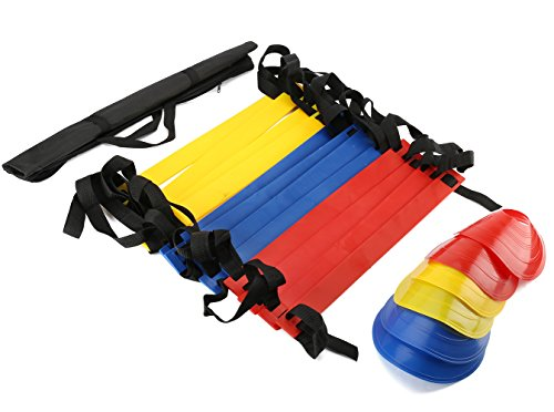 KESEF (TM) Speed Training Agility Ladder + Set Of 6 Field Cone Markers, Sports Cones.