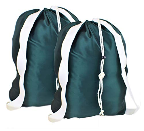 ALB Nylon Laundry Backpacks with Strong Shoulder Straps 22:X28 Bar Lock Closure Variety of Colors (Green (Set of 2))