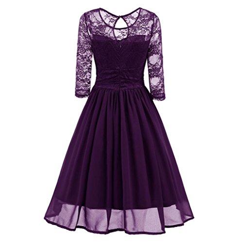 Lace Mini Platforms (ManxiVoo Womens Vintage Lace Evening Party Dress Ladies Elegant Wedding Three Quarter Sleeve Skirt Gown (L, Purple))