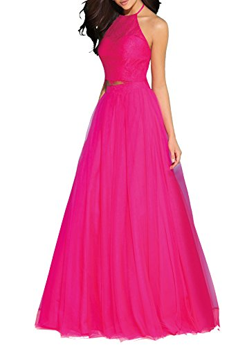 Beauty Bridal Two Piece Homecoming Dresses Prom Ballgown Halter Evening Party Dress S069 (18W,Fuchsia)