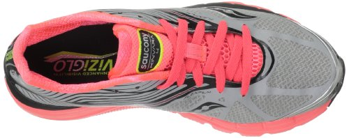 Saucony Womens Kinvara 4 ViziGLO Running Shoe Silver/Coral/Citron Demf3F6w