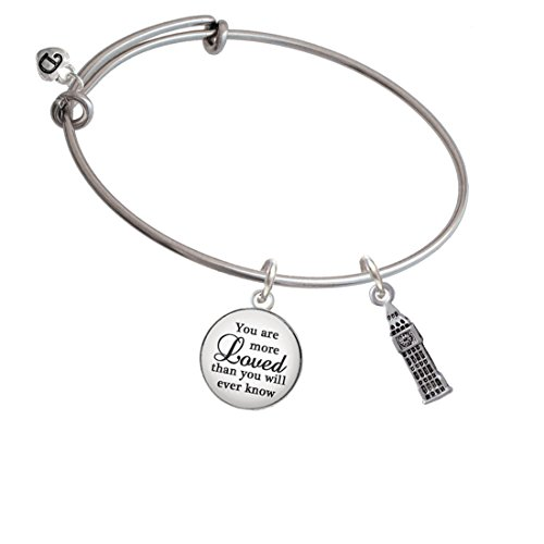 Silvertone London's Big Ben Clock Tower You Are More Loved Bangle Bracelet by Delight Jewelry (Image #3)