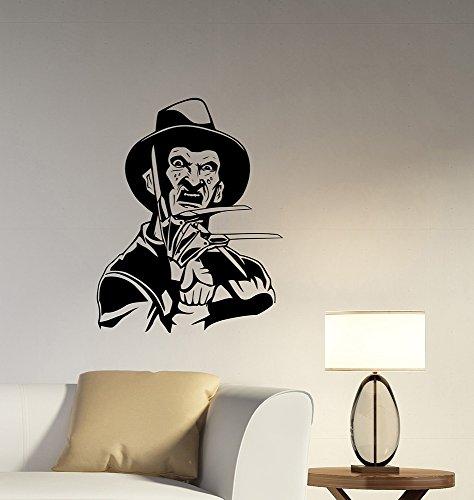 Freddy Krueger Wall Decal Removable Vinyl Sticker A Nightmare On Elm Street Art Decorations for Home Living Room Bedroom Office Horror Movie Decor krg1 -