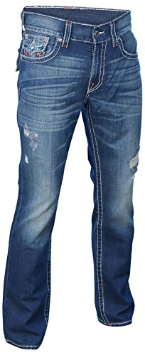 True Religion Men's Straight Big T Red Logo Jean w/ Flap in Moonless Nights (Logo Straight Jean)