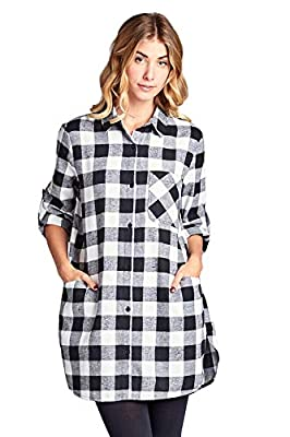 Vialumi Women's Junior Long Sleeve Button Down Plaid Checker Tunic Shirt Dress