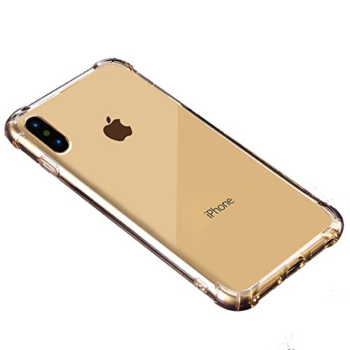 iPhone X Case,iPhone 10 Case,iBarbe TPU Crystal Clear Ultra Lightweight Shock Absorbing Ultra Slim Anti-Scratch Non Slip Reinforced Corner Protection Bumper Case For iPhone X -Gold