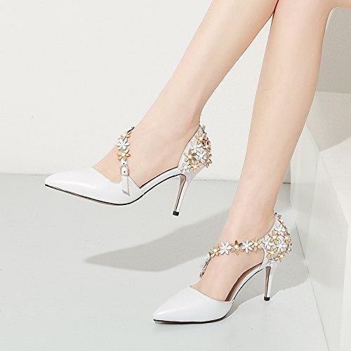 Zapatos De centimeters Flores Las Altos La Blancos Y Con De Solo Primavera 5 Zapatos White Tacones ZHUDJ Huecos Tacón UxwqEw