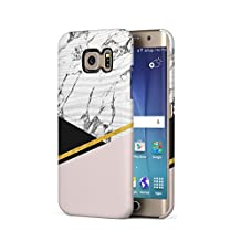 Coral Pink Golden Marble Blocks Samsung Galaxy S6 Edge Plastic Phone Protective Case Cover