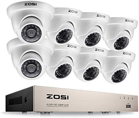 ZOSI 8CH Security Surveillance System H.265 1080P 4 in 1 HD DVR and 8pcs 1080P HD Weatherproof CCTV Dome Cameras System,Night Vision,Easy Remote Access,NO Hard Drive