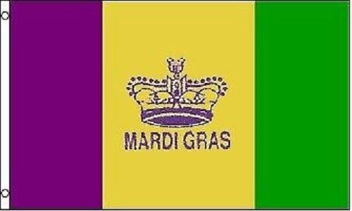 ALBATROS Mardi GRAS Flag - 3ft x 5ft - Kings Crown Banner for Home and Parades, Official Party, All Weather Indoors Outdoors ()