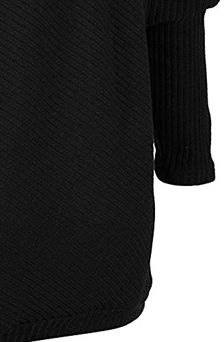 Batwing Blouse Femmes Tricots Longues Noir Casual Pull Hauts Pullover Tomwell Manches Cavalier Nue Automne Sweater Jumpers Epaule FpHnS