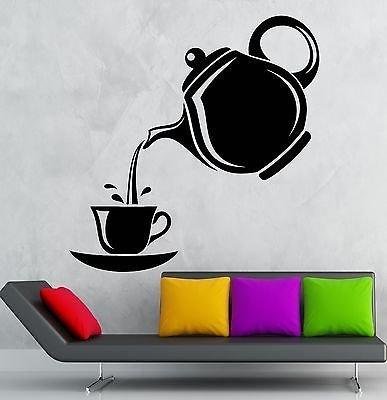 Wall Stickers Tea Party Tea Coffee Maker Kitchen Decor Vinyl Decal VS2469 (Maker Wallpaper Monogram)