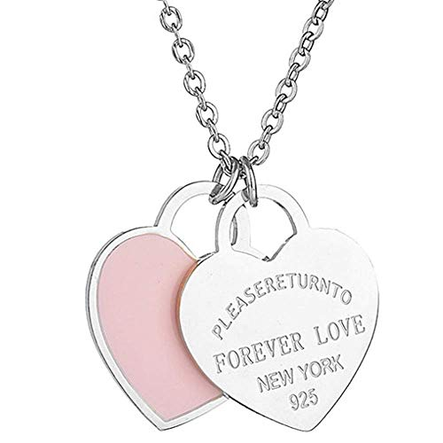 Silver Heart Inspired Necklace (Designer Inspired Silver Titanium Steel Forever Love Double Heart Pendant (Pink Enamel))