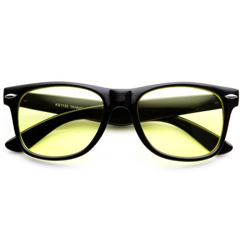 zeroUV - Rare Color Tinted Lens Classic Horn Rimmed Sunglasses - Fashion Glasses Tinted Yellow