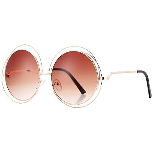Pro Acme Women's Double Circle Metal Wire Frame Oversized Round Sunglasses - Designer Inspired Sunglasses