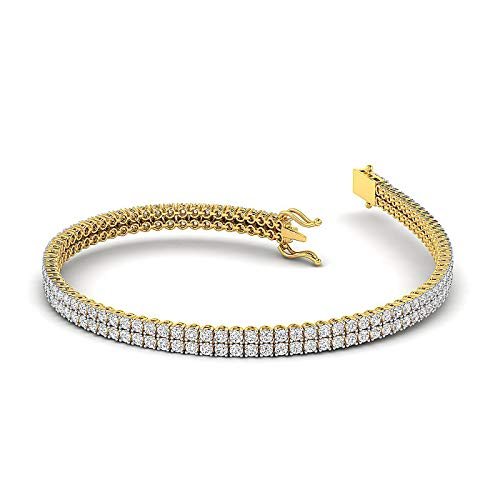 GH/VS - 2 Carat Moissanite Round brilliant Cut Diamond Studded tennis Bracelet Crafted in Pure White, Rose, Yellow Gold - 7 Inch Lenth, Two Row Wristlet 2ct Round Diamond Tennis Bracelet